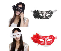 Wholesale White Feather Flowers For Sale - Hot sale!!! sexy Black white red Women Feathered Venetian Masquerade Masks for a masked ball Lace Flower Masks 3colors