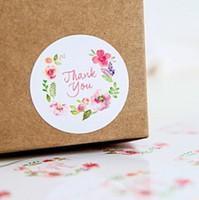 adhesivo floral de papel al por mayor-500 unids / lote Floral Redondo Gracias Etiquetas de Papel adhesivas Decorativas Etiquetas de Embalaje para cajas de regalo bolsas