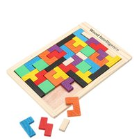 Wholesale mini brain - Kids Toys Wooden Tangram Jigsaw Board Puzzles Brain Teaser Puzzle Tetris Game Educational Baby Child Kid Toy