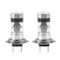 drl h7 toptan satış-H7 100 W Yüksek Güç COB LED Araba Oto DRL Sürüş Sis Kuyruk Far Işık Lambası Ampul Beyaz 12-24 V araba styling