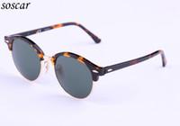 Wholesale Designer Sunglasses Ray Brand - 4246 Brand Designer Sunglasses Ray Round Sunglasses Bans New Arrival Men Women Sunglasses Plank Frame Flash Mirror Lenses 51mm
