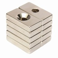 Wholesale Neodymium Magnets Holes - 10pcs N50 20x10x4mm 4mm Hole Super Strong Block Magnets Rare Earth Neodymium Magnets