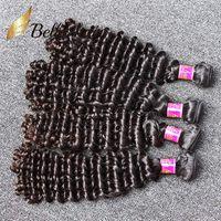 Wholesale Deep Weaving - 7A Grade 8-30inch Brazilian Virgin Hair Deep WaveHuman Hair Weaves Human Hair Weft Unprocessed Natural Color Free Shipping Bella HairBundle