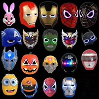 Hot LED Flash Mask Enfants Masques de Halloween Masque d'éclairage incandescent Avengers Hulk Captain America Ironman Spiderman Party Mask Meilleur prix