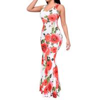 Wholesale Maxi Summer Flower Dresses - 2016 Summer Flower Sundress Women O-neck Long Bodycon Dresses Beach Maxi Printing Dress Female Sexy Vestidos Robe Longue Femme