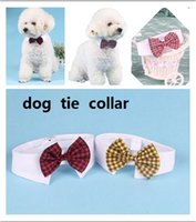 Wholesale Dog Striped - New Pet Dog Striped bow Tie collar Cat Bow Cute Dog Necktie Wedding Adjustable Puppy Red Blue Khaki Pet accessories free shipping HJIA238
