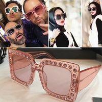 Wholesale Mosaic Wrap - New brand sunglasses - 2017 Mosaic luxury diamond design fashion sunglasses large square frame big leg fashion protection sunglasses