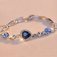 2017 Hottest Womens Ladies Crystal Rhinestone Bangle Ocean Blue Bracelet Corrente Coração Jóias