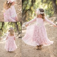 Wholesale White Rose Belt Wedding - Vintage Dusty Rose Lace Flower Girl Dress 2017 Modest Country Boho Wedding Long Sleeve Little Girl Princess Party Dress with Crystal belt