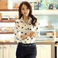 Wholesale Elastic Puff Long Sleeve - free shipping New Korean Five-pointed star printing elastic Long sleeve shirt Chiffon Blouse Lapel Neck Womens shirts