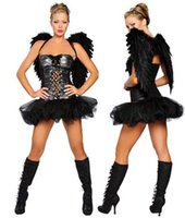Wholesale Adult Party Wings - Naughty Dark Angel with Wings Sexy Adult Costumes Halloween Party costume cosplay Fancy Costume For Girls 2213