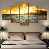 pinturas abstratas do nascer do sol venda por atacado-Moda arte Da Parede Do Mar cheio de sunrise home decoração abstrata grande tela pinturas 5 pçs / set sem moldura