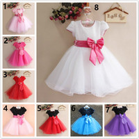 Wholesale Kids White Casual Wedding Dress - 8 Design Kids Baby Girls Lace paillette flower bowknot Dress 2017 new princess Girls fashion Short sleeve Lace Flowergirl Wedding dress