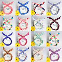 Wholesale Metal Headbands Ears - Cute Korean Dots Bunny Rabbit Ear Ribbon Headwear Hairband Metal Wire Scarf Headband Hair Band Accessories Hair bands headband Multicolor
