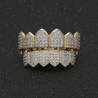 Wholesale Dental Jewelry - Hiphop Vampire Teeth Gold Plated Jewelry For Men Full Diamond Zircon Hip Hop Grillz Accessories Luxury Cool Hip-Hop Tooth Jewelries