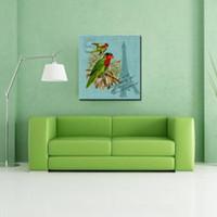 gemälde zweige groihandel-Hd Canvas Print Wohnkultur Kunst Malerei Papagei auf dem Zweig Eiffelturm Wandkunst Malen auf Leinwand Tier Paintings für Heimtextilien
