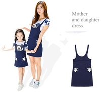 Wholesale Mother Baby Dresses Set - Mickey Mother Daughter Dress Mom and Baby Two Piece Dresses Family Set Cotton Summer Clothing Women Girls Family Matching Outfits 058