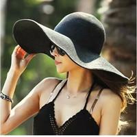 chapéu grande da praia da borda larga venda por atacado-16 cores mulheres Wide Brim Hat Floppy Derby grande praia Sunhat palha frete grátis