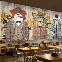 placas de madeira venda por atacado-Arte abstrata papel de parede de madeira prancha retro nostalgia animal cão roupa bar cenário papel de parede mural graffiti