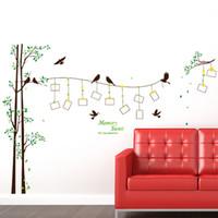 Wholesale Tv Wall Design Wallpaper - DIY Modern Photo Frame Birds Tree Wall Stickers Bedroom Living Room TV Backdrop Decoration PVC Wall Decor Waterproof Removable Wallpaper