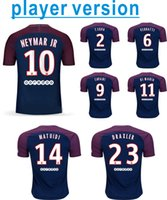 Wholesale Soccer Player Jersey - player version NEYMAR JR 17 18 Soocer Jersey VERRATTI T.SILVA DI MARIA CAVANI Soccer Jerseys 17 18 football shirts best thai quality