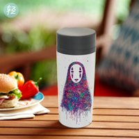 Wholesale Cutest Japanese Kids - Watercolor Japanese Anime Miyazaki Movie NO FACE Plastic Kids Cute Water Bottles 300ml BPA Free With Lid Personalized Drink Cup