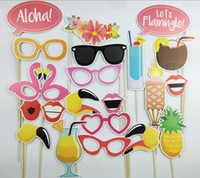 Wholesale Baby Face Mask Adult - Hot 21pcs set Flamingo Hawaii Themed Summer Baby Shower Photo Booth Props Birthday Party Decoration PhtotoBooth Mustache Centerpieces