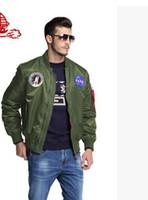 ingrosso giacche americane-2016 primavera Autunno sottile NASA Navy giacca da uomo varsity college americano bombardiere volo giacca ma1 per gli uomini