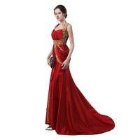 Wholesale Muslim Robes - Muslim Prom Dress 2017 Robe De Soiree Courte A Line Beaded Long Red Evening Dress Dubai Evening Dresses