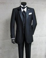 Abiti Prom Wedding Photo Nero smoking dello sposo degli uomini all'ingrosso Groomsman-Real (Jacket + Pants + Vest + Tie) AAA: 030