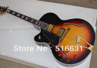 Alta calidad zurdo Archtop custom Model jazz Semi Hollow Guitarra Eléctrica Vintage Sunburst Golden hardware
