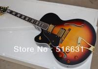 Wholesale Vintage Guitar Left Handed - High quality left handed Archtop custom Model jazz Semi Hollow Electric Guitar Vintage Sunburst Golden hardware