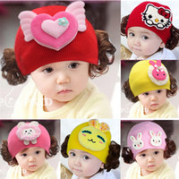 Wholesale Baby Girl Hats Wig - New Fashion Spring Autumn Winter Warm Ear Wig Baby Cap Children Cartoon Animal Cute Rabbit Monkey Knitted Hat Beanies