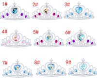 Wholesale Tiaras Colorful - FROZEN Elsa Anna diamond crown COSPLAY party Wedding performance props Children girl cartoon crowns Tiaras charm jewelry colorful 9 Design
