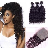 Wholesale processed peruvian hair - 8A Peruvian Deep Wave Hair Bundles with Closure Free Middle 3 Part Double Weft Human Hair Extensions Dyeable Human Hair Weave