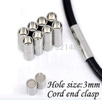 Wholesale Magnetic Clasp 19mm - 500pcs 4*19mm hole size 3mm Rhodium Plated Dull silver Tone Leather jewelry tube magnetic clasp end caps for leather cord