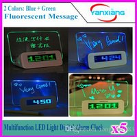 5pcs LED Digital Fluorescent Message Board Wecker-Temperatur-Kalender-Timer USB Hub Blau / Grün-Licht YX-LYD-01