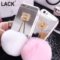 Wholesale Iphone Case Rabbit Mirror - SE Top selling Metal Rope Mirror TPU phone Cases Cute Rabbit Fur Ball For iPhone5S 6S 6 Plus Cover For iphone 5 cases