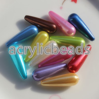 Wholesale Wholesale Door Beads - 100pcs Factory Price 10*30mm Acrylic Teardrop Faux Pearl Beads Plastic Hanging Beads for Door Curtains Jewelry Making