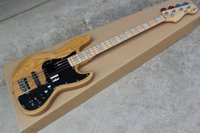 Wholesale Jazz Guitars Natural - wholesale Free shopping factory custom jazz bass natural wood Sunburst 4 strings electric guitar with 9 V Battery active pickups .