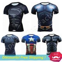 Wholesale Batman Superman Shirts - Tights shirts 2017 Gym Fitness Compression Shirt Men Anime Superhero Punisher Skull Batman Superman 3D Shirt Body building Cross fit tshirt