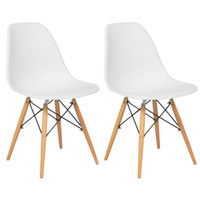 Wholesale Modern Wood Dining Chairs - Set of (2) Eames Style Dining Chair Mid Century Modern Molded Plastic Shell Arm