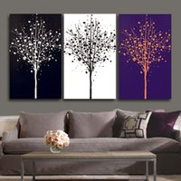 Wholesale Wall Decor Black Art Canvas - 40*50Cm Modern Wall Art Paintings Pure Hand Painted Black And White Tree Patterns Unframed Paints For Living Room Dining Room Wall Decor