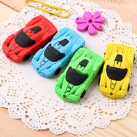 Wholesale Car Shaped Erasers - 10pcs Sports Car Shape Eraser Mini Kid Student Eraser Pencil Eraser Stationery Free Shipping Material Escolar