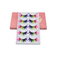 Wholesale Colorful False Feather Lashes - Wholesale-5 Pairs Women Lady Fancy Colorful Feather Fake Eyelashes Party Soft False Eye Lashes Makeup Tools