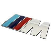 Wholesale Logo Metal M - Wholesale Cool Car Auto Decoration Badge Stickers M Logo Metal 3D Car Sticker for BMW M3 M5 X1 X3 X5 X6 E36 E39 E46 E30 E60 E92 All Model
