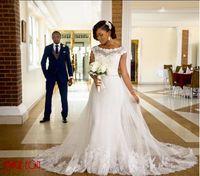 Wholesale Satin Corset Bodice Wedding Gown - 2016 Newest Corset Tulle Vintage Plus Size Pakistani Wedding Dresses Modern Lace Applique Tulle White Bridal Gowns
