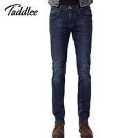Wholesale Mens Trousers Hip Hop - Wholesale-Taddlee Brand 2016 Mens Casual Jeans Biker Hip Hop Solid Trousers Denim Jeans For Men Straight Leg Full Length Pants Ripped