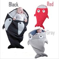 Wholesale Hot Sleeping - Envelope Shark Sleeping Bags Ins Baby Strollers Bed Newborn Winter Swaddle Kids Cartoon Blankets Fashion Wrap Hot Bedding Sleep Sacks B3487