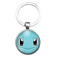 Wholesale Wholesale Gem Bags - Anime Poke mon go Pocket Monster Poke Ball Keychain Cabochon Glass Gem Keyring Keyring Pendants Men Women Bags Hang Jewelry
